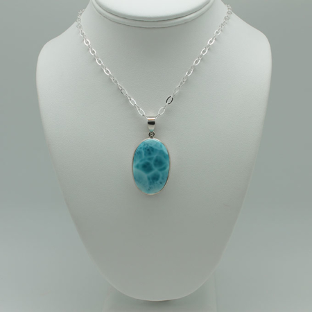 Oval Larimar Necklace-ssg1840