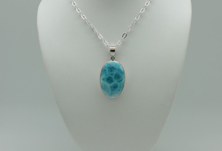 Oval Larimar Necklace-1840 zoom
