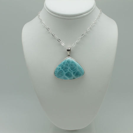 Larimar Triangle Pendant Necklace #3080