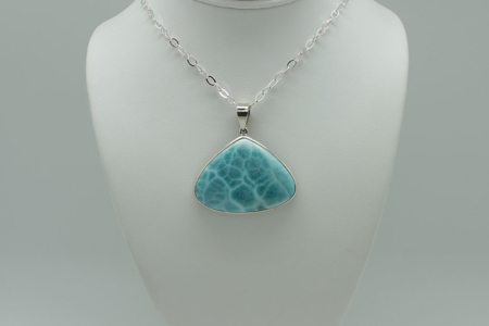 Larimar Triangle Pendant Necklace #3080 zoom 1