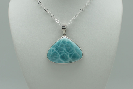 Larimar Triangle Pendant Necklace #3080 zoom 2