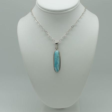 Larimar Long Rectangle Pendant Necklace #3082