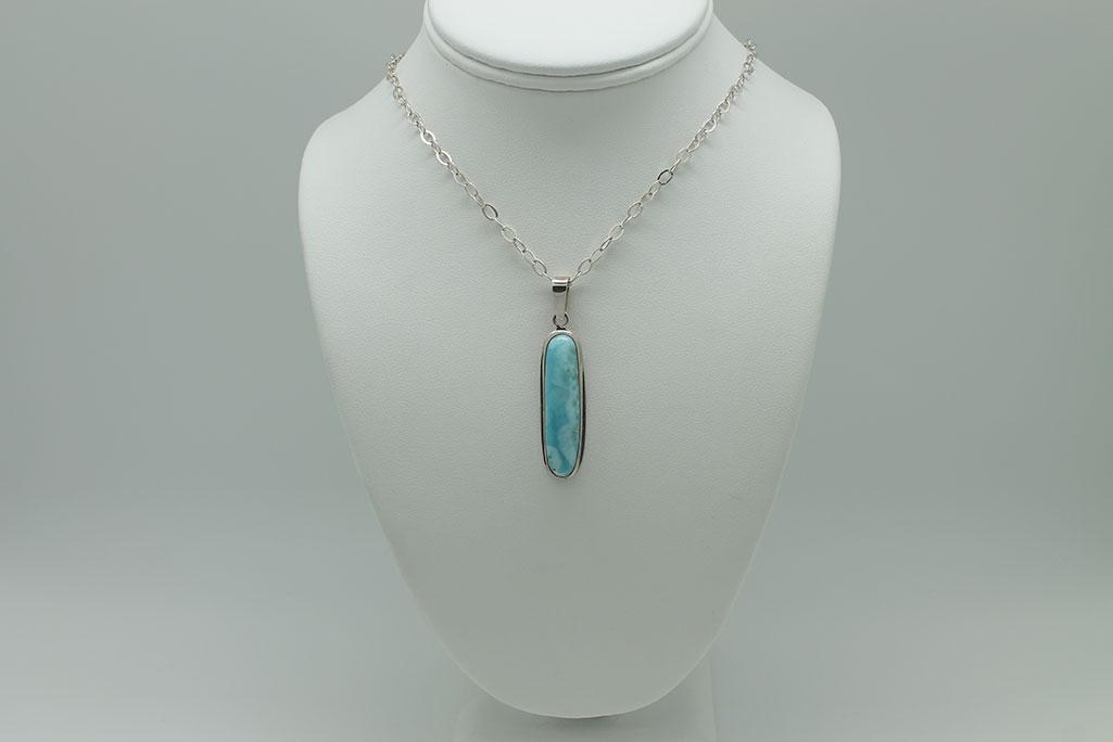 Larimar long rectangle pendant necklace 3082 sun spirit gems larimar long rectangle pendant necklace 3082 mozeypictures Gallery