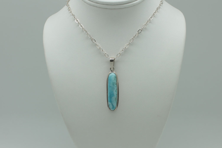 Larimar Long Rectangle Pendant Necklace #3082 zoom