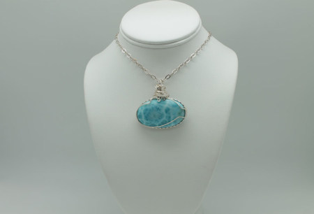 Larimar Pendant WW W/Chain Large Oval-3083b