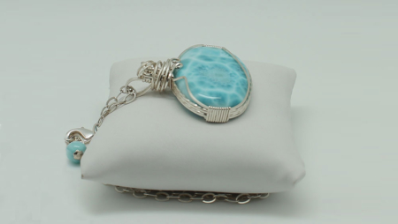 Larimar Pendant W/Chain Large Oval-3083d zoom