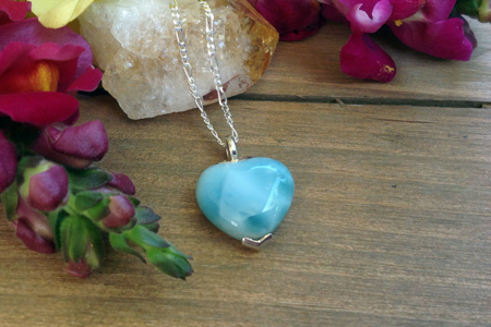 Larimar Heart Shaped Necklace