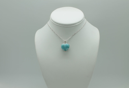 Larimar Pendant W/Chain Large Heart-3084a
