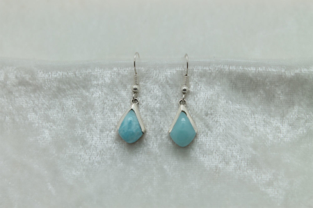 Larimar Triangle Earrings with Silver Half Cap 2730