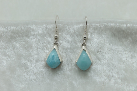 Larimar Triangle Earrings with Silver Half Cap zoom