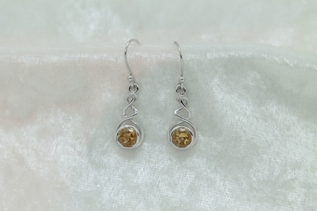 Citrine Round Earrings 2973