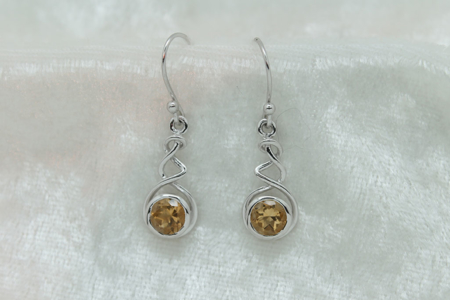 Citrine Round Earrings 2973 zoom