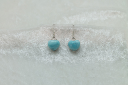 Larimar Small Heart  Earrings 3079