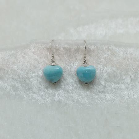 Larimar Small Heart Earrings 3079