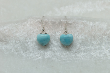 Larimar Small Heart  Earrings 3079 zoom