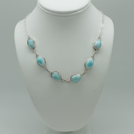 Larimar Necklace 6 Stone 3085