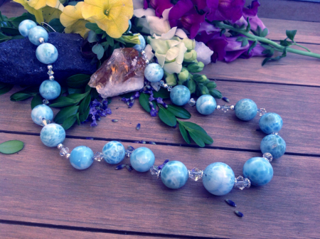 Larimar Round Bead Knotted Necklace