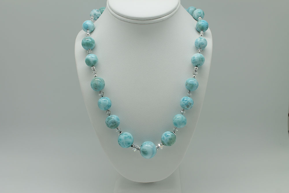 Larimar Round Bead Knotted Necklace #3087