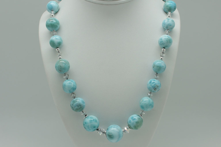 Larimar Round Bead Knotted Necklace #3087 zoom