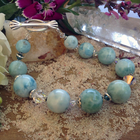 Larimar & Swarovski Crystals Bracelet #3090