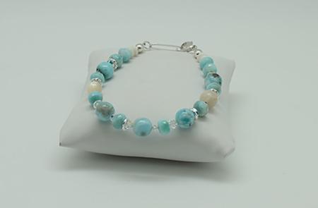 Larimar Pearl Accents Bracelet #3091 Flat