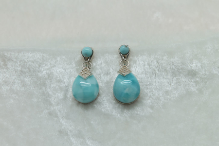 Larimar Large Tear Drop Earrings 3151