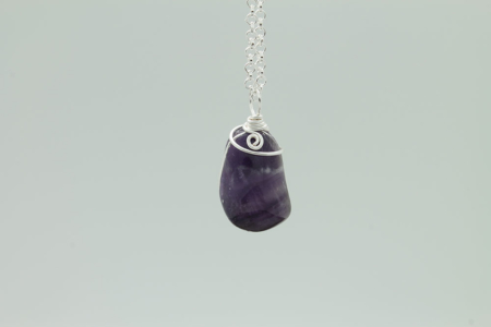 Amethyst Stone Necklace #3171 zoom