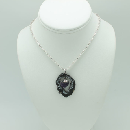 Dark Geode with Amethyst Pendant 3228