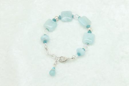 Aquamarine Sterling Silver Bracelet #1008 zoom