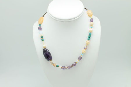 Yellow Jade, Turquoise, Amethyst, Mother of Pearl, Yellow Calcite Necklace #1673