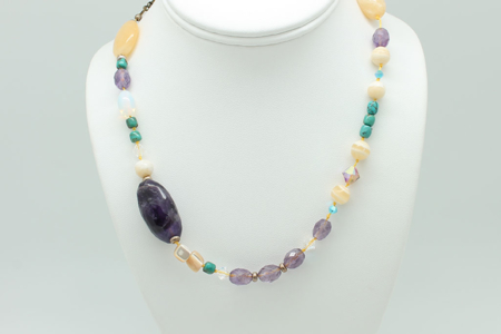 Yellow Jade, Turquoise, Amethyst, Mother of Pearl, Yellow Calcite Necklace #1673 zoom