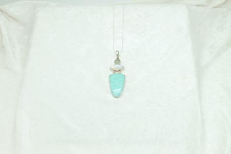Amazonite, Moonstone & Round Aqua Marine Necklace #1798