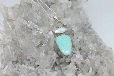 Amazonite, Moonstone & Round Aqua Marine Necklace #1798 zoom