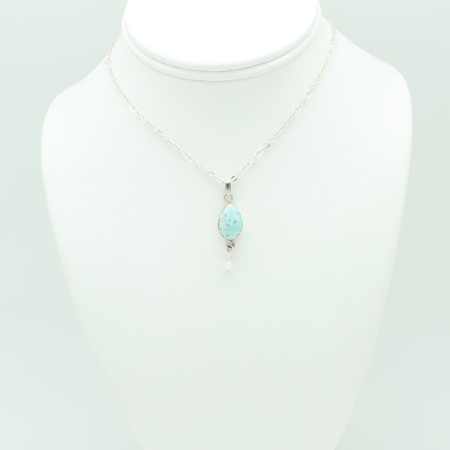 Larimar Small Tear Drop Crystal Dangle #2913