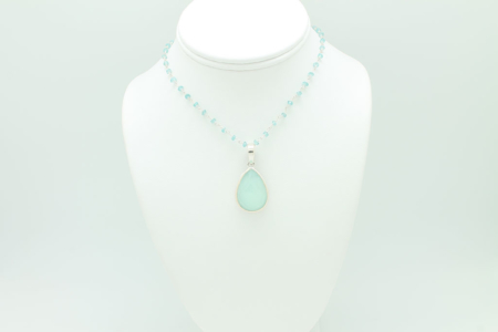 Large Tear Drop Chalcedony Necklace #2981