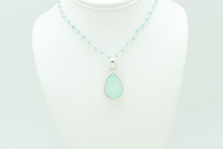 Large Tear Drop Chalcedony Necklace #2981 zoom