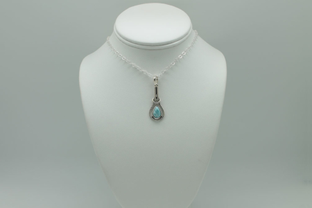 Larimar Tear Drop Pendant Necklace #2987