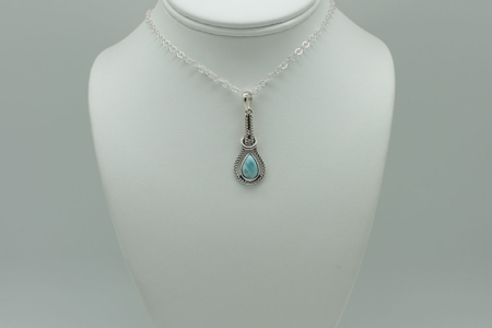 Larimar Tear Drop Pendant Necklace #2987 zoom