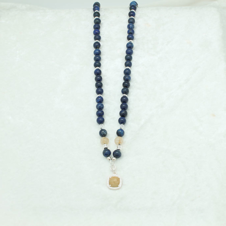 Lapis, Citrine, Yellow Garnet Necklace #3039