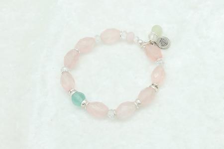 Rose Quartz, Fluorite Bracelet #3061 zoom
