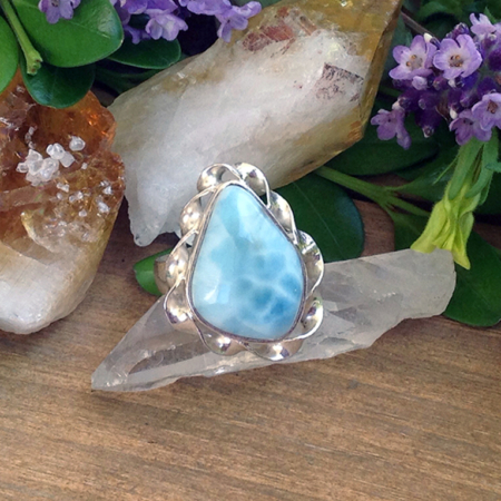 Larimar Freeform Sterling Silver Ring #3074