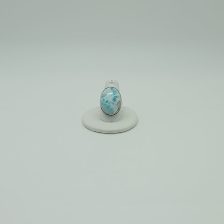 Larimar Oval Sterling Silver Ring #3075