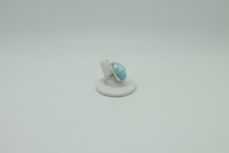 Larimar Oval Sterling Silver Ring #3075 Rightside