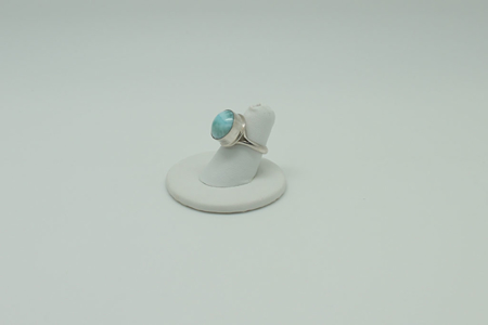 Larimar Round Sterling Silver Ring #3076 Leftside
