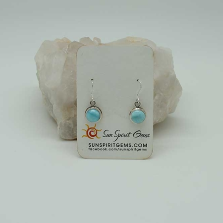 Larimar Earrings Small Round