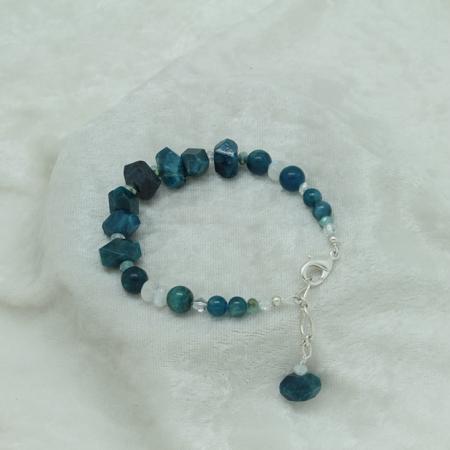 Blue Apatite Bracelet #3096 - Moonstone