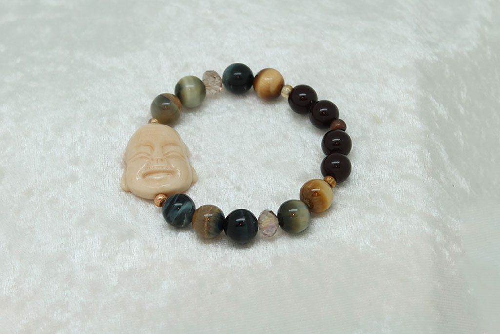 Blue Gold Tiger Eye Bracelet #3103 zoom