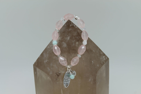 The love of Rose Quartz Bracelet #3105 Hanging