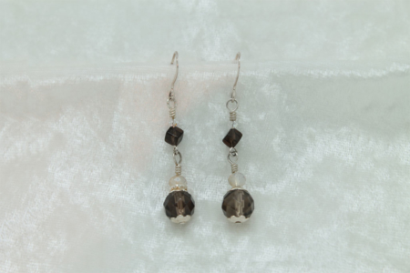 Double Smokey Quartz Earrings #3154