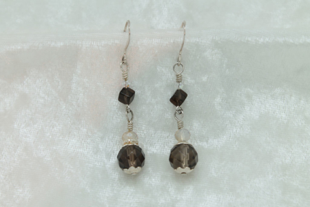 Double Smokey Quartz Earrings #3154 zoom